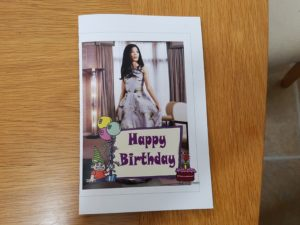 front of Vanessa's birthday card